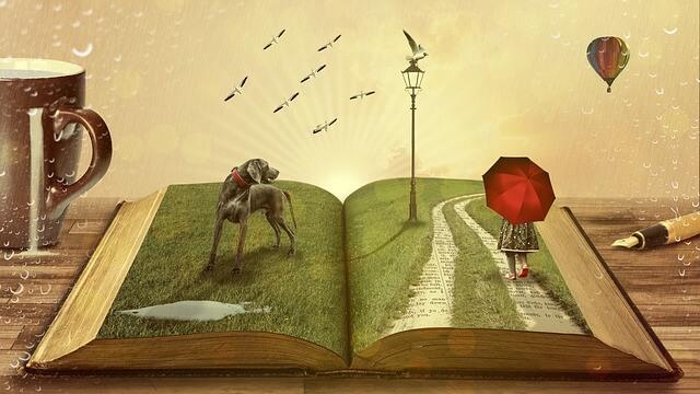 本の上の立体的なおとぎ話